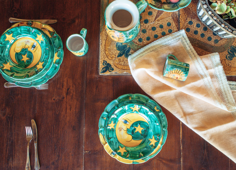 Plates and Jugs with Sun and Moon decoration