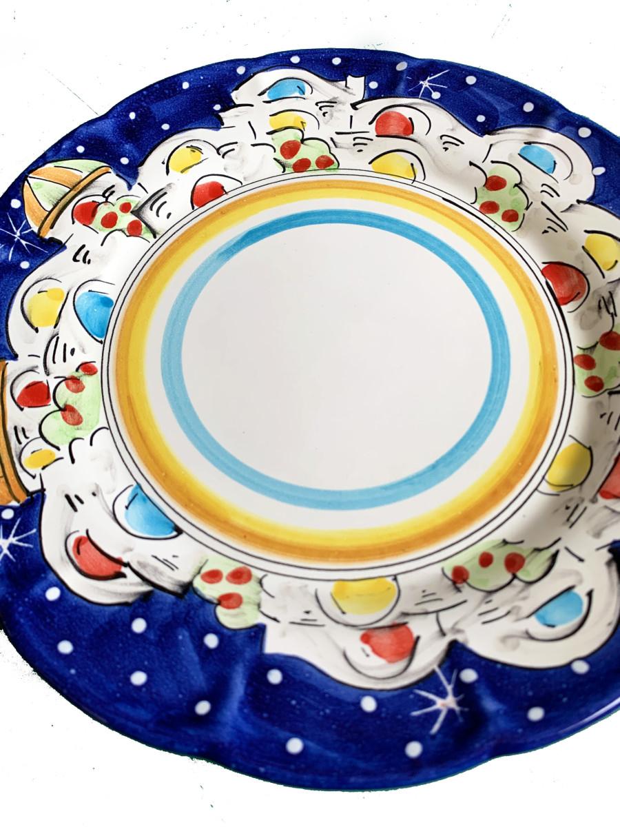 Piatto in ceramica di Vietri Decoro Casette Vari colori ...
