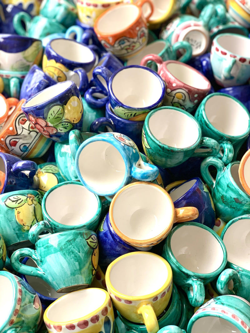 Our colorful Vietri ceramic cups